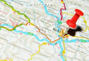 14514990-London-UK-13-June-2012-Graz-Austria-marked-with-red-pushpin-on-Europe-map--Stock-Photo